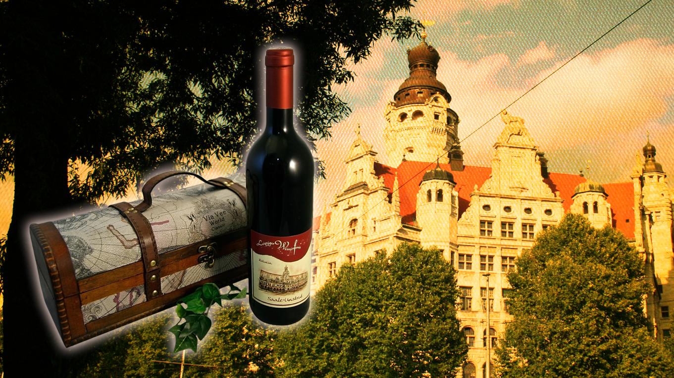 Das neue Leipziger Rathaus mit einem unserer Präsente Leipzig
