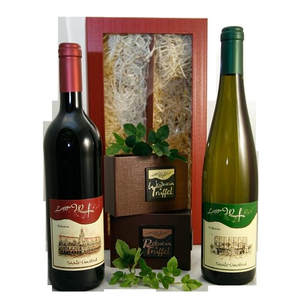 Leipzig Geschenke mit zwei Flaschen Wein und Weintrüffel