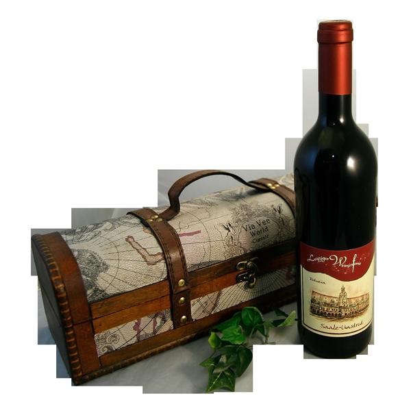 Leipziger Geschenkpaket mit Leipziger Weinsinfonie Rotwein in einer Holzschatulle