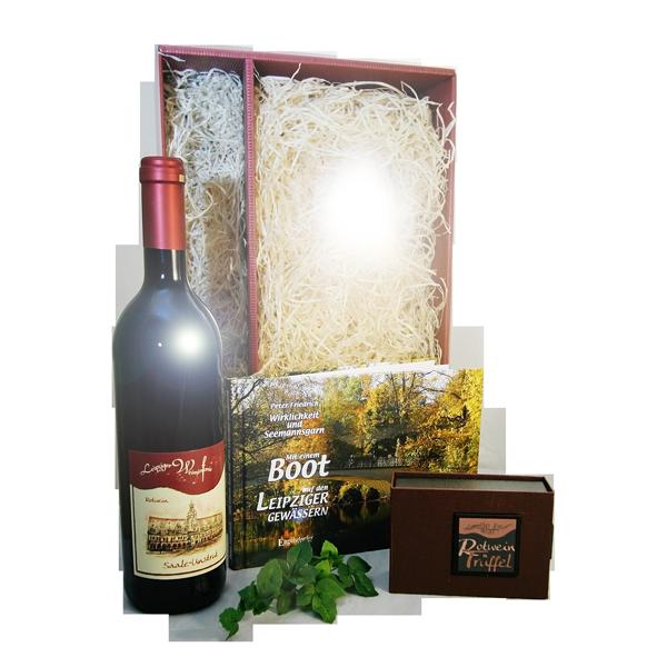 Leipziger Geschenkpaket mit dem Leipziger Weinsinfonie Rotwein, Rotweintrüffel und einem Bildband